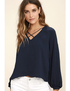Big City Navy Blue Long Sleeve Top by Lush