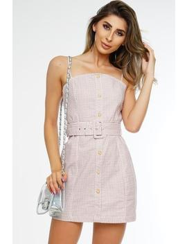 Malibu Gingham Dress   Taupe by Want My Look