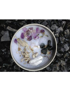 Sacred Smudge / Black Tourmaline, Amethyst, Sage, & Selenite / Sanctuary Candle / Crystal Candle / Ritual Candle / Crystal Activated Candle by Etsy