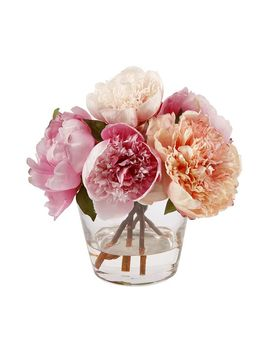 Faux Peony In Glass Vase by Pottery Barn