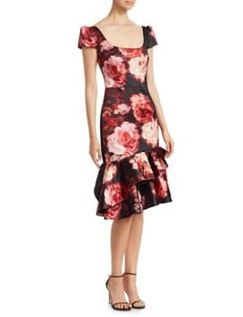 Short Sleeve Ruffle Midi Dress by David Meister