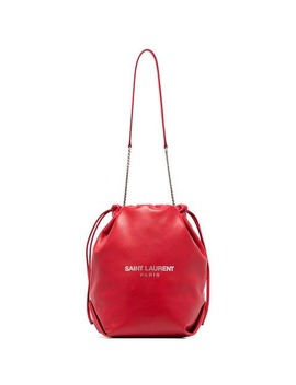 Red Pochon Logo Print Leather Drawstring Shoulder Bag by Saint Laurent