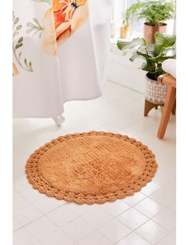 Round Crochet Trim Bath Mat by Urban Outfitters