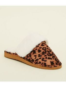 Brown Leopard Print Faux Fur Lined Mule Slipper by New Look