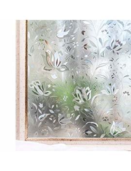 Window Film Privacy No Glue 3 D Static Decoration Heat Control Anti Uv Sun Blocking Glass Sticker,11.8x78.7 Inches by Amazon