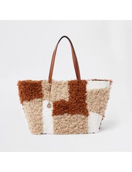 Beige Fleece Patch Textured Tote Bag by River Island