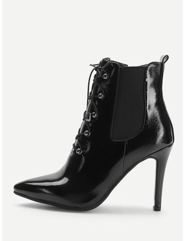 Lace Up Front Patent Leather Ankle Boots by Sheinside