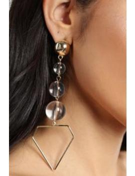 Girl's Best Friend Earrings   Gold/Clear by Fashion Nova