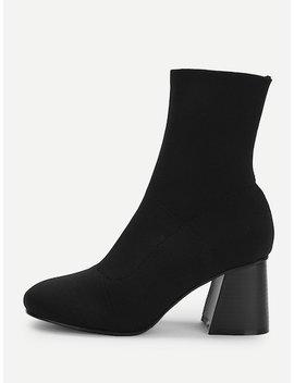 Plain Chunky Heeled Boots by Sheinside