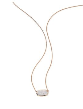 Elisa Pendant Necklace In Pave Diamond And 14k Rose Gold by Kendra Scott