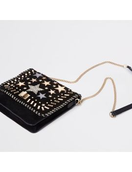 Black Leather Star Studded Cross Body Bag by River Island