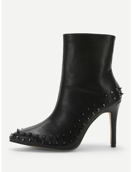 Studded Decor High Heel Boots by Sheinside