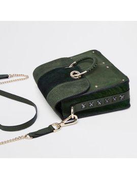 Dark Green Hoop Front Cross Body Bag by River Island