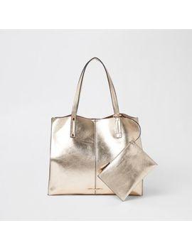 Gold Metallic Beach Tote Bag by River Island