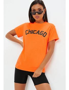 Orange Chicago Neon Slogan T Shirt by Missguided