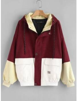 Hooded Color Block Corduroy Jacket   Cherry Red S by Zaful