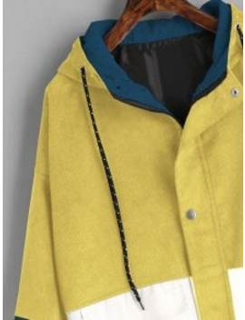 Hooded Color Block Corduroy Jacket   Yellow S by Zaful