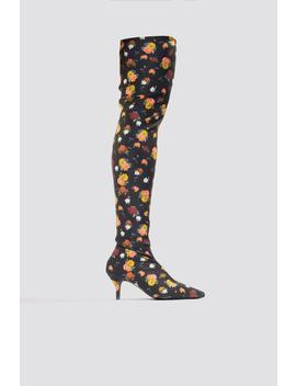Knee High Kitten Heel Boots Yellow Flower by Na Kd