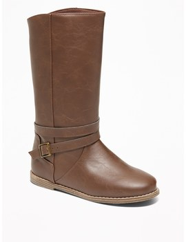 Tall Faux Leather Buckled Boots For Girls by Old Navy