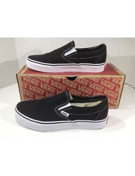 Vans Womens Classic Slip On Black Canvas Fashion Sneaker Shoes Sz 8 Zw 485 by Vans