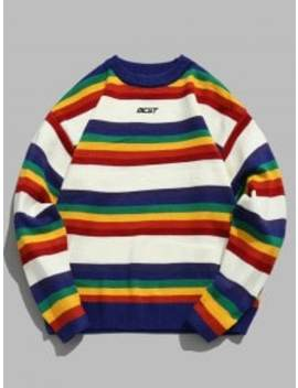 Rainbow Striped Letter Knit Sweater   White Xl by Zaful