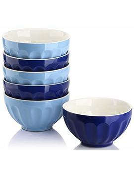 Dowan 28 Ounce Porcelain Bowls Set For Cereal/Soup   Set Of 6, Assorted Colors by Dowan