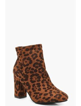 Square Toe Leopard Block Heel Shoe Boots by Boohoo