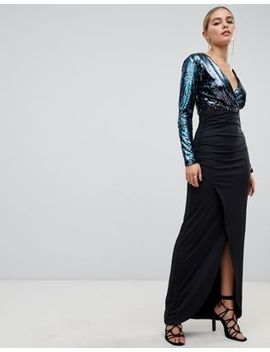 Outrageous Fortune Sequin Plunge Front Midi Dress With Wrap Skirt In Blue Glitter Contrast by Outrageous Fortune