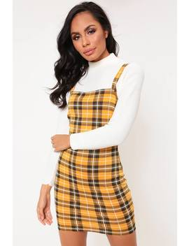 Yellow Check Square Neck Pinifore Dress by I Saw It First