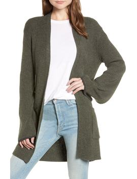 Tipped Bell Sleeve Cardigan by Hinge
