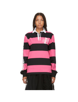 Pink & Black Striped Rugby Long Sleeve Polo by Opening Ceremony
