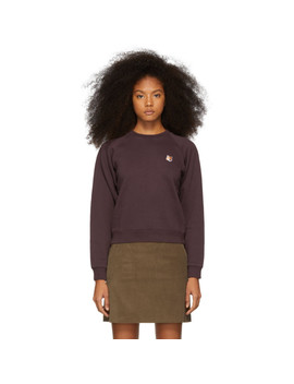 Purple Fox Head Patch Sweatshirt by Maison KitsunÉ