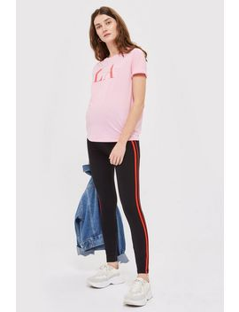 **Maternity Red Striped Ponte Leggings by Topshop