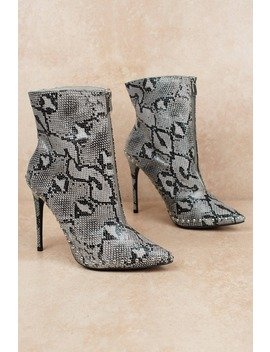 Giselle Grey Multi Snake Print Heeled Booties by Tobi