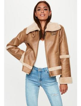 Brown Crop Zip Aviator Jacket by Missguided