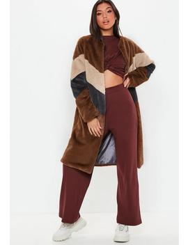 Brown Faux Fur Longline Colour Block Coat by Missguided