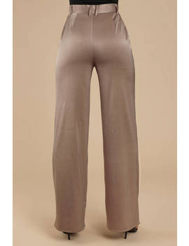 Davida Pewter Wide Leg Satin Trouser by Tobi