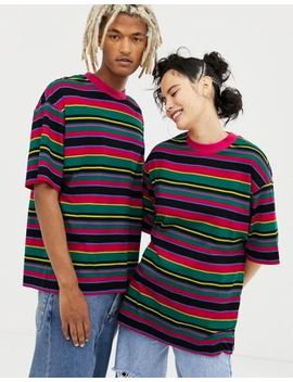 Collusion Unisex Multi Stripe T Shirt by Collusion