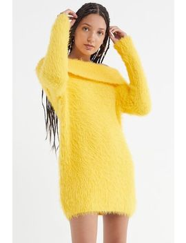 Uo Fuzzy Off The Shoulder Sweater Dress by Urban Outfitters