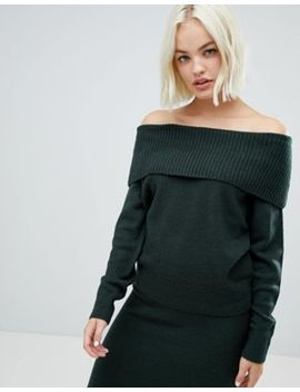 Asos Design Co Ord Off Shoulder Jumper In Fluffy Yarn by Asos Design
