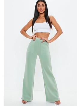 Green Contrast Stitch Wide Leg Pants by Missguided