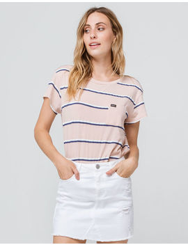 Rvca Big Stripe Tea Rose Womens Pocket Tee by Rvca