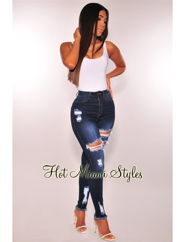 Dark Denim High Waist Destroyed Frayed Ankle Skinny Jeans by Hot Miami Style