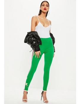 Green Embroidered Stirrup Leggings by Missguided