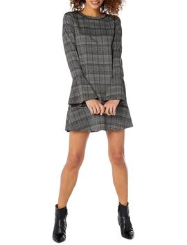 Plaid Ponte Flounce Dress by Michael Stars