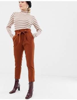 New Look Petite Tie Waist Trousers In Brown by New Look Petite