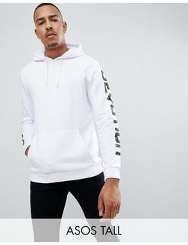 Asos Design Tall Hoodie In White With Camo Text Print by Asos Design