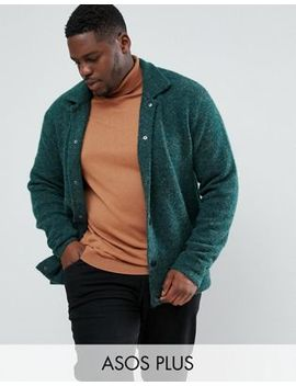 Asos Plus Knitted Harrington Jacket In Hairy Yarn In Green by Asos