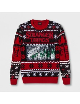 Men's Stranger Things Christmas Long Sleeve Sweatshirt   Vintage Black by Stranger Things