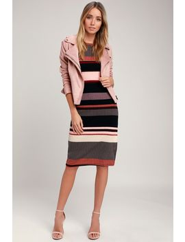 Share The Love Mauve Multi Striped Ribbed Long Sleeve Midi Dress by Lulus